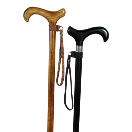 shooting Stick Wrist Loop brown leather tisted tassel