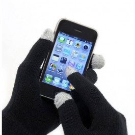 Ladies knitted touch screen gloves black
