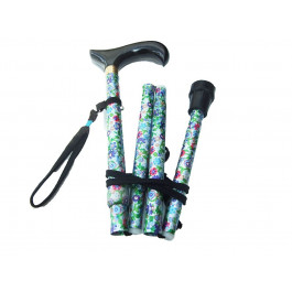 Folding Patterned Walking Stick Green Petite Flowers