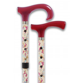 floral walking stick acrylic burgundy handle