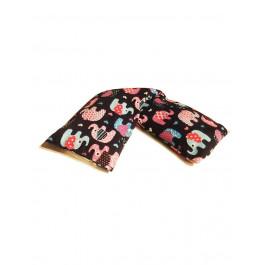 Premium Hot and Cold Pack Non Lavender 100% Cotton Cute Elephants Design Microwave Wheat Bag - Black