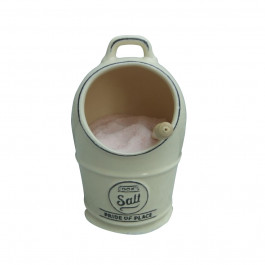 Himalayan Salt Jar and 1kg fine salt and salt spoon pack cream