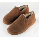 Sheepskin slippers chestnut men's full back hard sole size 11