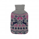 Cute Seasonal Winter Novelty Hot Water Bottles with Knitted Reindeer Cover - Grey