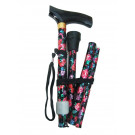 Flower Folding Walking Stick Height Adjustable (blk/red)
