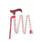 Folding walking stick multi floral