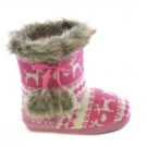Slumberezz Warm Boot Slippers Pretty Heart and Pink Reindeer Design