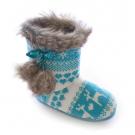 Slumberezz Warm Boot Slippers Pretty Heart and Aqua Reindeer