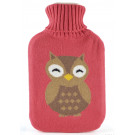 Hot Water Bottle With Knitted Pink OWL Cover