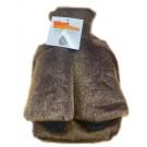 Hot Water Bottle Foot Warmer In Plush Faux Fur Brown