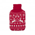 Novelty Hot Water Bottles with Knitted Reindeer Cover - Red