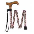 Folding Height Adjustable Walking Stick with Smart Handle and Carry Case - Leopard