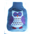 Blooming surprise Hot Wheat Bottle With Knitted OWL Cover - GREY