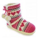 Ladies Pink Hearts Design Knitted Boot & Pom Pom Warm Fur Lined Slipper Size medium 5-6