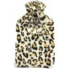 SlumberzzZ Leopard Print Faux Fur Cover Pom Pom Trim 2 Litre Hot Water Bottle