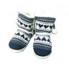 Slumberezz Warm Boot Slippers Pretty Heart Design For Women, Navy,