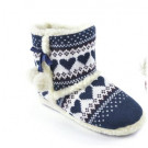 Slumberezz Warm Boot Slippers Pretty Heart Design For Women, Navy, Small 3-4