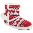 Slumberezz Warm Boot Slippers Pretty Heart Design For Women, Red