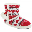 Slumberezz Warm Boot Slippers Pretty Heart Design For Women, Red