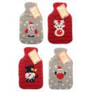 Seasonal Fun Soft Knitted Cover Reindeer Stripey Hot Water Bottle