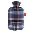 Fashy Hot Water Bottle Tartan Cover - Blue