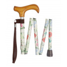 Folding Floral Height Adjustable Walking Stick with Smart Handle and Carry Case - Wild Flowers