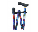 Flower Folding Walking Stick Height Adjustable with Wood handle - Leafy Purple