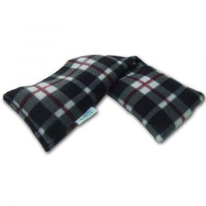 Lavender Heat Pack Plush Fleece Tartan Check Microwave Wheat Bag - Black