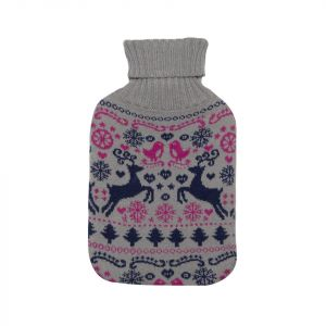 Novelty Hot Water Bottles with Knitted Reindeer Cover - Grey