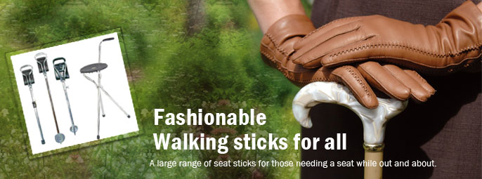 Fashionable walking sticks, seat sticks, shooting sticks